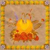 Composición floral con un marco de hojas Fotografía de archivo
