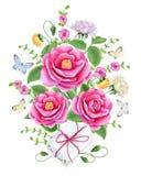 Composición floral de la acuarela Imagen de archivo libre de regalías