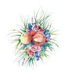 Composición floral de la acuarela Fotos de archivo