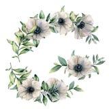 Composición floral de la acuarela con la anémona Flores blancas pintadas a mano y hojas del eucalipto aisladas en blanco libre illustration