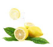Composición fresca del agua del limón Foto de archivo libre de regalías