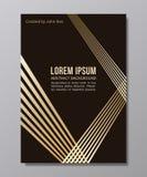 Composición geométrica con los rayos de oro en negro moda MI del oro Foto de archivo libre de regalías