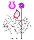 Composición geométrica de la flor Imagen de archivo libre de regalías