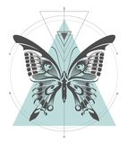 Composición geométrica del arte de la mariposa de Machaon libre illustration
