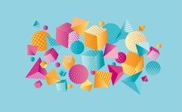 Composición geométrica del color 3d del concepto Fotos de archivo libres de regalías