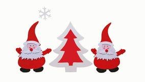 Composición hecha a mano de la Navidad Dibujo del árbol de Santa Claus y del Año Nuevo hecho de pedazos pegados de fieltro y de m fotografía de archivo