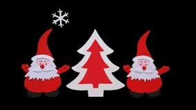 Composición hecha a mano de la Navidad Dibujo del árbol de Santa Claus y del Año Nuevo hecho de pedazos pegados de fieltro y de m imagen de archivo libre de regalías
