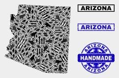 Composición hecha a mano del mapa del estado de Arizona y del sello texturizado stock de ilustración