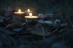 Composición hermosa de Halloween con las runas y las velas en la hierba en ritual oscuro del bosque del otoño Fotos de archivo libres de regalías