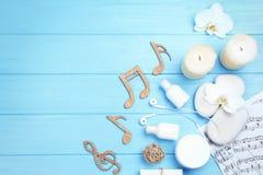 Composición hermosa de los accesorios y del musical del balneario Imagen de archivo