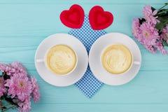 Composición hermosa del desayuno de las tarjetas del día de San Valentín Fotografía de archivo libre de regalías