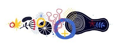 Composición horizontal abstracta con los elementos geométricos y florales Útil para el diseño web, tarjetas, invitaciones Vector  Fotografía de archivo