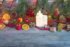 Composición iluminada de la Navidad Fotos de archivo