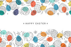 Composición inconsútil del huevo de Pascua en estilo del garabato Ilustración drenada mano del vector Foto de archivo libre de regalías