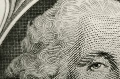 Composición inusual de presidente George Washington del anverso del un billete de dólar americano foto de archivo libre de regalías