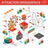 Composición isométrica de Infographic de las atracciones del parque de atracciones stock de ilustración