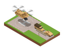 Composición isométrica de la base militar libre illustration