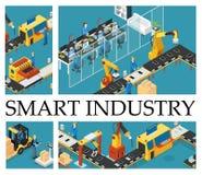 Composición isométrica de la fábrica automatizada libre illustration