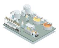 Composición isométrica de la fábrica de la producción de queso stock de ilustración