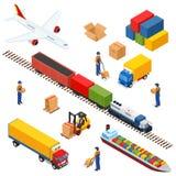 Composición isométrica de la logística de diversos vehículos de la distribución del transporte Fotos de archivo libres de regalías