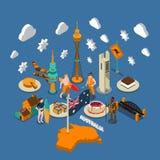 Composición isométrica de los símbolos turísticos australianos de las atracciones libre illustration