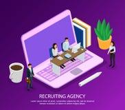 Composición isométrica de reclutamiento de la agencia libre illustration