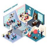 Composición isométrica del centro de negocios stock de ilustración