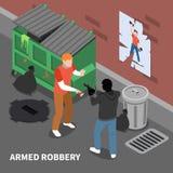 Composición isométrica del robo a mano armada libre illustration