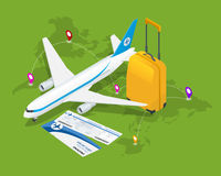 Composición isométrica del viaje Fondo del viaje y del turismo Ejemplo plano del vector 3d Diseño de la bandera del viaje Viajes Fotografía de archivo libre de regalías