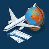 Composición isométrica del viaje Fondo del viaje y del turismo Ejemplo plano del vector 3d Diseño de la bandera del viaje Viajes Imágenes de archivo libres de regalías