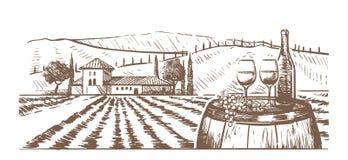 Composición a mano, vidrios, una botella de vino y uvas en un barril contra un paisaje rural con un chalet ilustración del vector