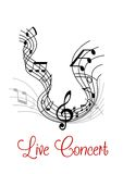 Composición musical con la onda y las notas Imágenes de archivo libres de regalías