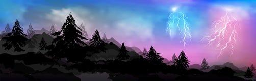 Composici?n, paisaje de ?rboles, bosques y monta?as coronadas de nieve bandera del vector, pino del invierno del jefe de la web y ilustración del vector