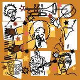 Composición para la ilustración del jazz Imagen de archivo libre de regalías