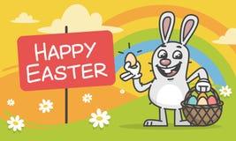 Composición Pascua Bunny Holding Egg y cesta Imagenes de archivo