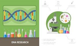 Composición plana de la investigación genética ilustración del vector