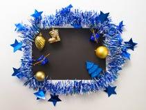 Composición plana de la Navidad o del Año Nuevo para escribir o poner letras Fotografía de archivo libre de regalías