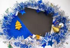 Composición plana de la Navidad o del Año Nuevo para la tarjeta de felicitación Imágenes de archivo libres de regalías