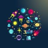 Composición plana de los iconos del espacio stock de ilustración