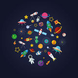 Composición plana del diseño de los iconos del espacio Imagenes de archivo