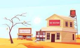 Composición plana del estado de la sequía stock de ilustración