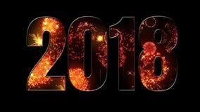 Composición por los nuevo 2018 años fuegos artificiales hermosos a través de la inscripción 2018 Fuegos artificiales brillantes,  metrajes