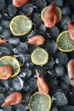 Composición puesta plana con los camarones, las rebanadas del limón y los cubos de hielo fotografía de archivo