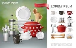 Composición realista del Dishware y del utensilio ilustración del vector