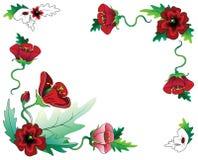 Composición roja del marco de las flores Fotografía de archivo