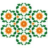 Composición simétrica del ornamento floral del vector color ilustración del vector