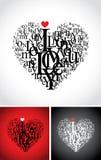 Composición tipográfica en una dimensión de una variable del corazón Fotografía de archivo libre de regalías