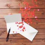 Composición vacía de la tarjeta de la tarjeta del día de San Valentín Fotos de archivo