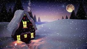 Composición video con nieve que cae sobre escena del invierno con la casa en la noche libre illustration