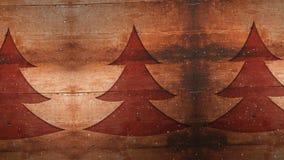 Composición video con nieve sobre árbol de pino en la madera